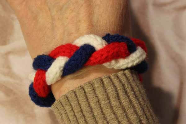 Spool Knitted Braided Bracelet - Patriotic Red, White & Blue