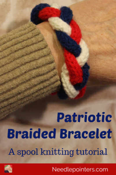Spool Knitted Patriotic Braided Bracelet Tutorial
