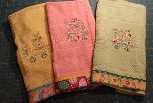 Machine Embroidered Spring Towels
