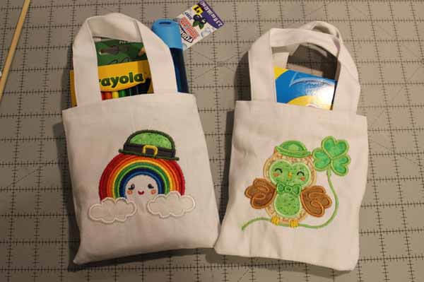 St Patricks Day Mini Tote Tutorial - Completed Bags