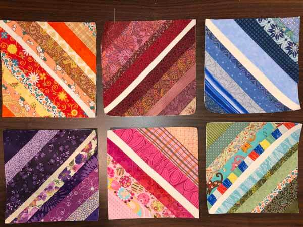 String Piecing Sample - Single color Blocks