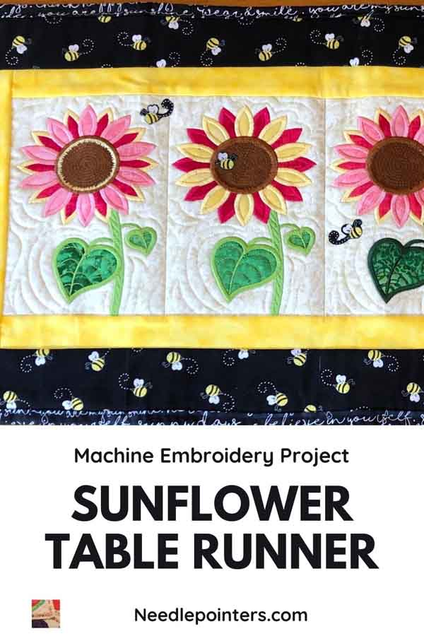 Sunflowers & Bees Table Runner Project - pin
