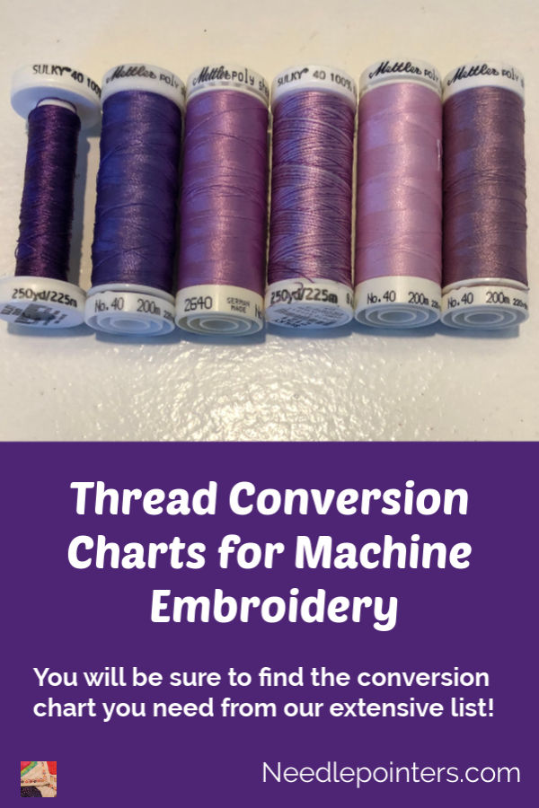 Thread Conversion Charts for Machine Embroidery