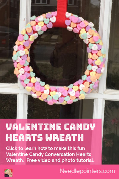 Valentine Candy Hearts Wreath Tutorial - pin