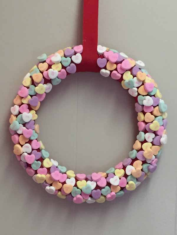 Valentine Candy Hearts Wreath - Finished Wreath View 2