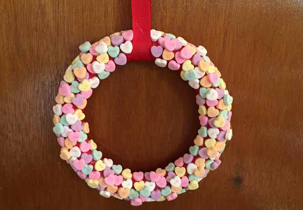 Valentine Candy Hearts Wreath - Finished Wreath