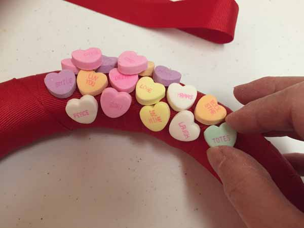 Valentine Candy Hearts Wreath - Add Place Hearts