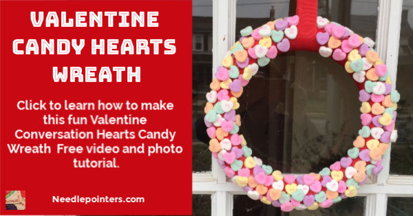 Valentine Candy Hearts Wreath Tutorial - fb