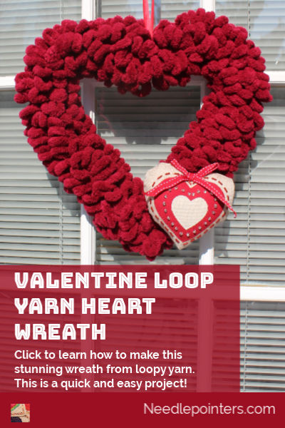 Valentine Loop Yarn Heart Wreath - pin
