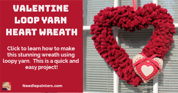 Valentine Loop Yarn Heart Wreath - fb