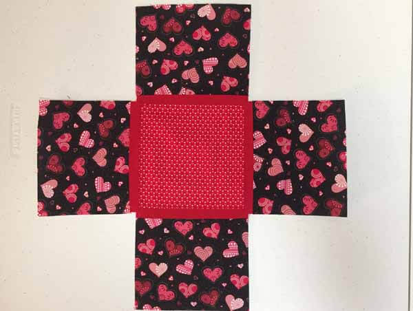Valentines Tissue Box Cover - Sewing pieces