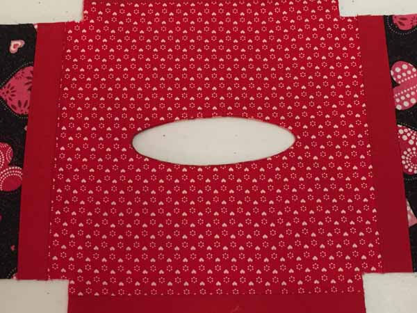 Valentines Tissue Box Cover - Completing Opening