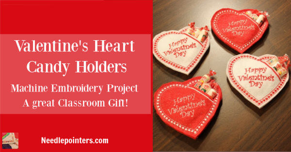Machine Embroidered Heart Candy Holders pattern by Embroidery Garden