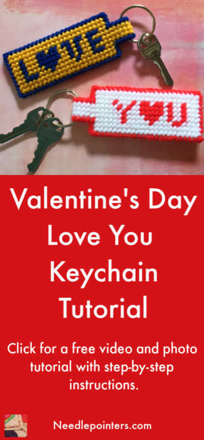 Plastic Canvas Love You Keychain Tutorial - Valentine Pin