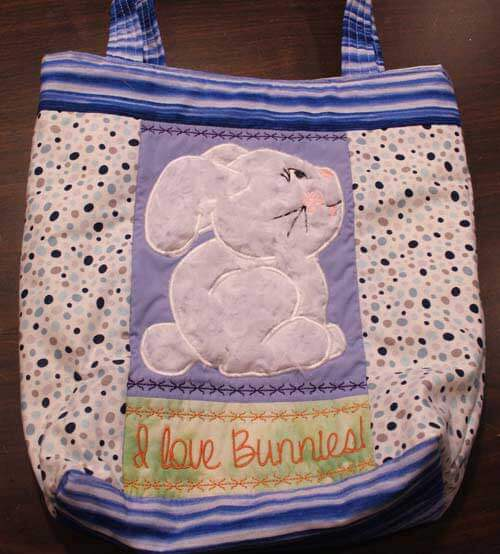 Sweet Pea Machine Embroidery Designs - I Love Bunnies Bag Project - Front
