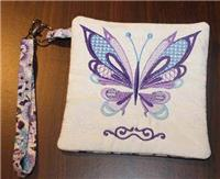 Machine Embroidered Butterfly Purse (Bag)