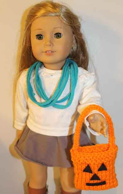 American Girl Doll Knitted Trick or Treat Bag - Doll holding bag