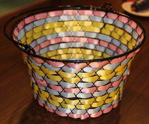 Wire Easter Basket with Ribbon