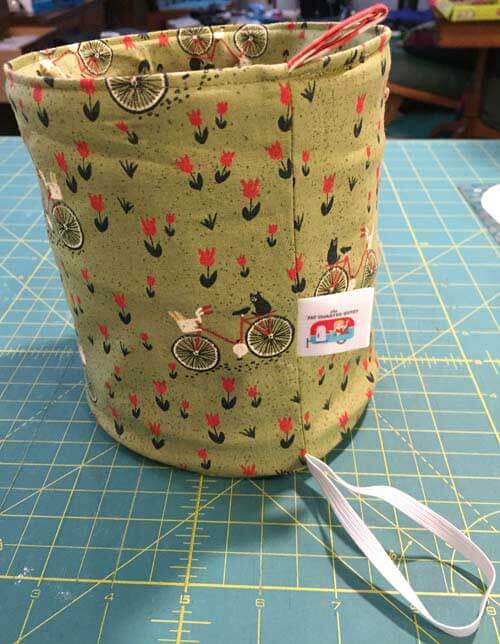 Fat Quarter Pop Up Basket - bike fabric
