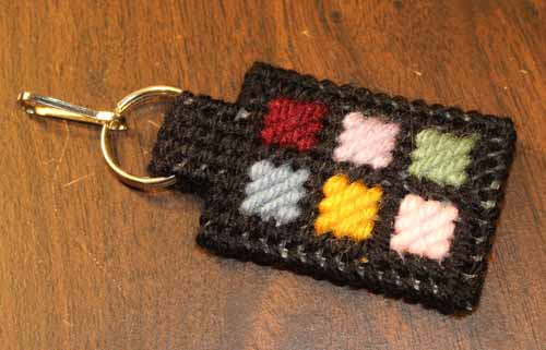 Patchwork Zipper Pull or Keyring completed