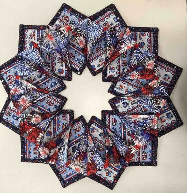 Patriotic Fold'n Stitch Wreath