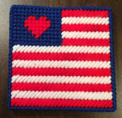 Patriotic Flag Coaster - Completed Coaster