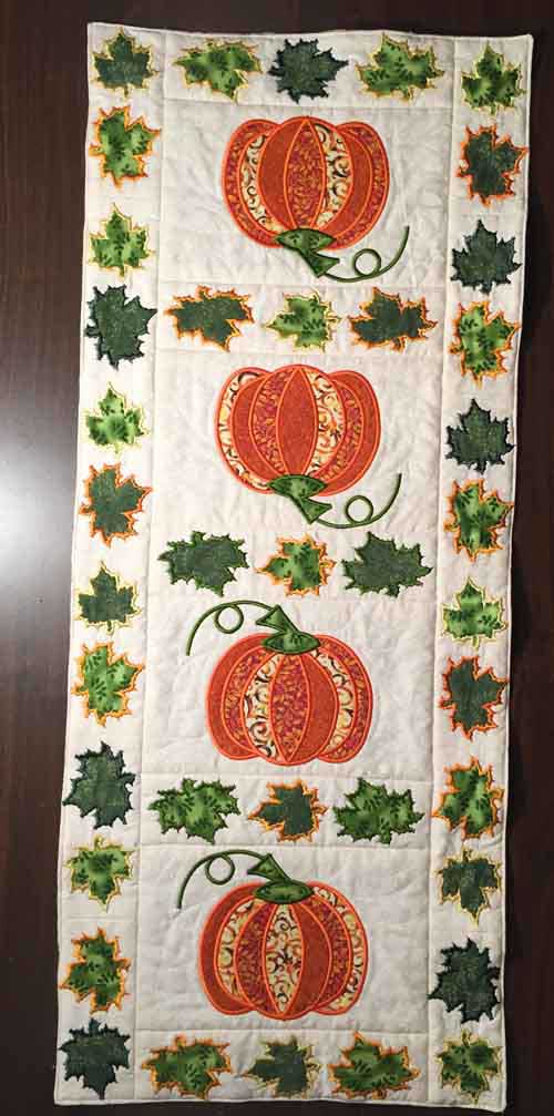 Machine Embroidered Pumpkin Table Runner