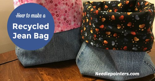 Lined Recycled Jeans Fabric Basket - Pin