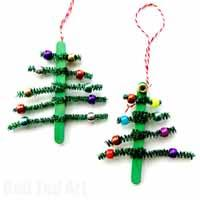 Pipecleaner Christmas Tree Ornaments