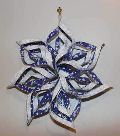 Fabric Snowflake finished 7.5 inch version, blue & white