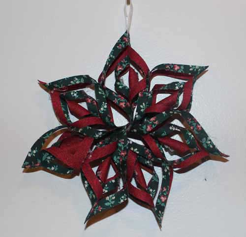 Fabric Snowflake finished 7.5 inch version, red and green