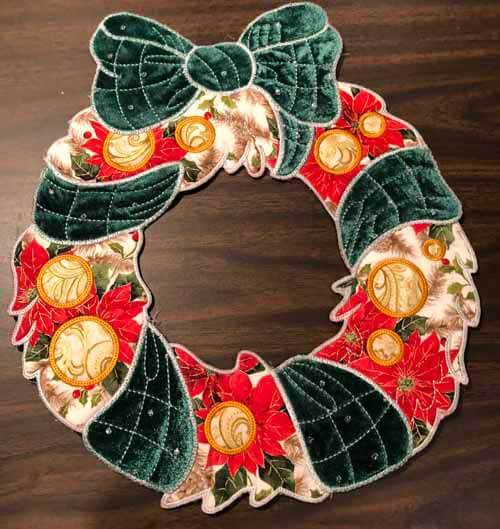 Machine Embroidered Holiday Wreath