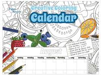 Creative Coloring Monthly Calendar 8 1/2 x 11 inches